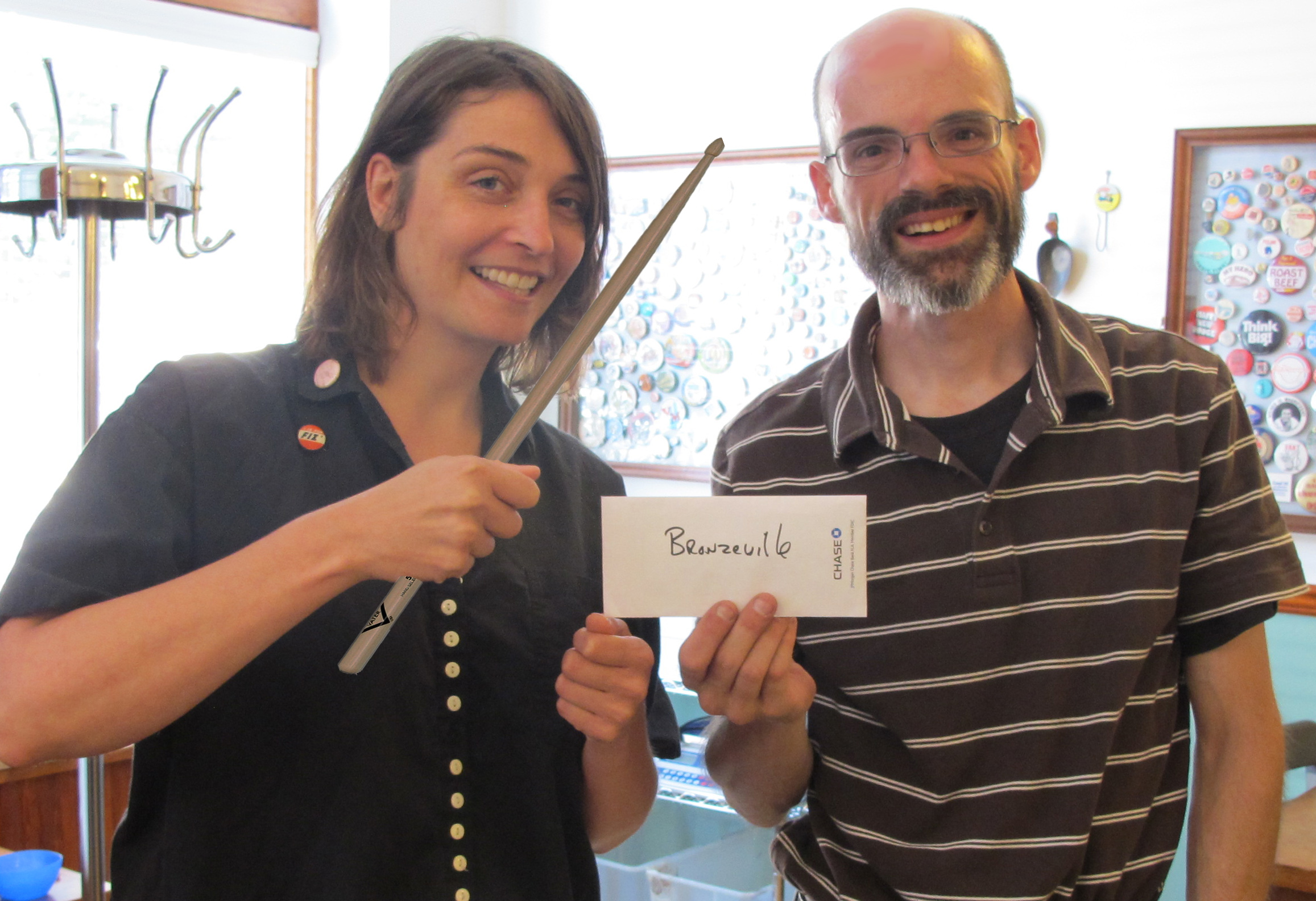 Awesome Foundation Board Member Christen Carter and Bronzeville Drum's Robert Elchert